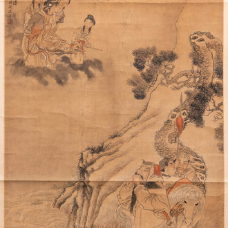 Chinese school, after Ma Shijun (1609-1666), dated 1867, ink and colour on paper: 'figures in a landscape'