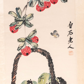 Chinese school, ink and watercolour on paper, 20th C.: 'Lychees and a fruit basket'