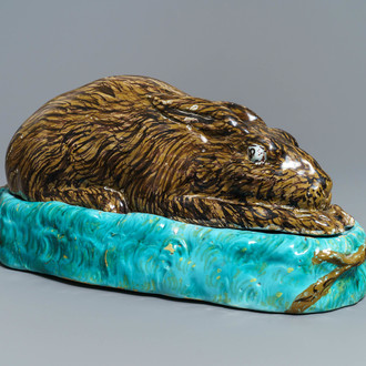 A large polychrome Brussels faience 'hare' tureen and cover, 18th C.