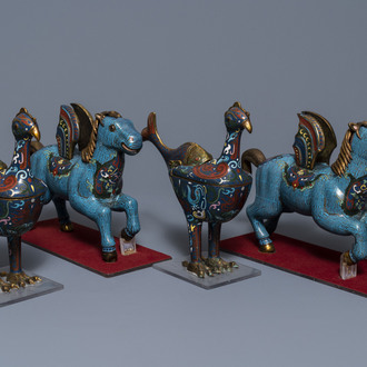 Two pairs of Chinese cloisonné 'phoenix and winged horse' incense burners, 19th C.