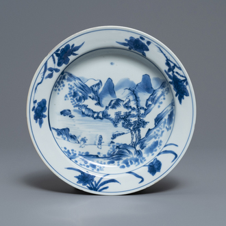 A Chinese blue and white 'Master of the rocks' plate, Kangxi
