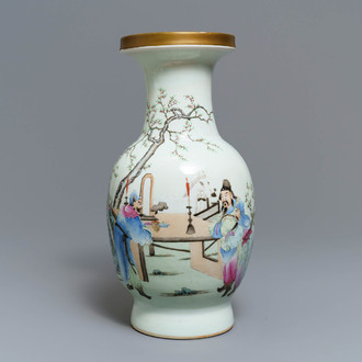 A Chinese famille rose vase with figures in a garden, Qianlong mark, Republic, 20th C.