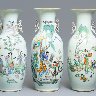Three Chinese famille rose vases with figural design, 19/20th C.