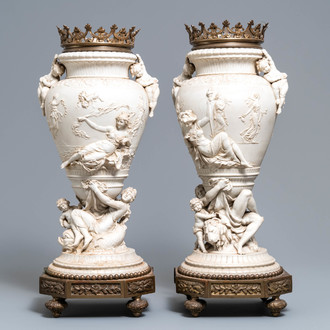 A pair of large bronze-mounted biscuit vases, signed Jammes, France, 19th C.