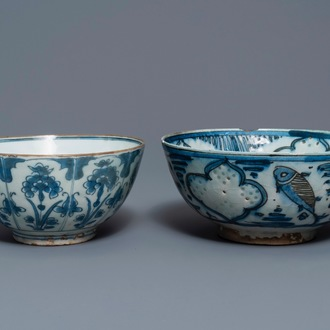 Two blue and white Persian pottery bowls, Safavid, 17/18th C.