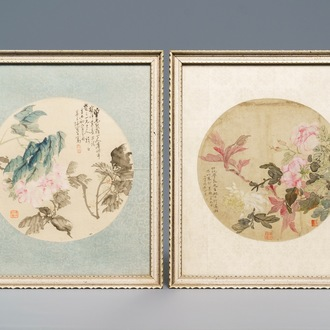 Chinese school, 18/19th C., watercolour and ink on silk: two floral fan leaves