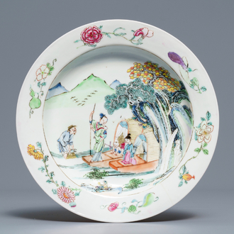 A fine Chinese famille rose 'ruby back' plate with figures and boats, Yongzheng