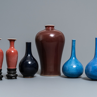 Six Chinese monochrome vases, Kangxi and later