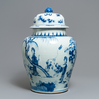A Chinese blue and white vase with figures in a garden, Kangxi