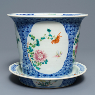 A Chinese famille rose floral jardinière on stand, Guangxu mark, Republic, 20th C.