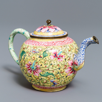 A Chinese Canton enamel teapot and cover, Qianlong