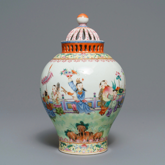 A reticulated Chinese famille rose 'Playing boys' vase, Jiaqing mark, Republic