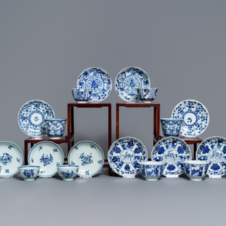 Ten Chinese blue and white cups and saucers, 18/19th C.