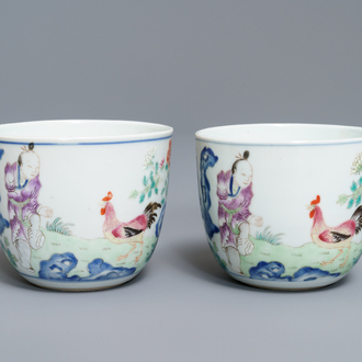 A pair of Chinese famille rose 'chicken' cups, Qianlong mark, late Qing or Republic