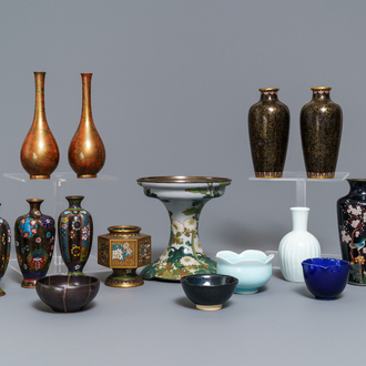 A large collection of Japanese cloisonné and studio pottery, Meiji/Showa, 19/20th C.