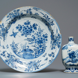 A Dutch Delft blue and white chinoiserie vase and a dish, late 17th C.