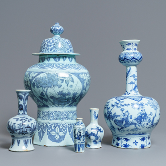 Five Dutch Delft blue and white chinoiserie vases, late 17th C.