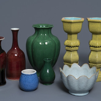 A varied collection monochrome Chinese porcelain wares, 19/20th C.