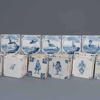 A collection of 54 Dutch Delft blue and white and manganese tiles, 17/18th C.