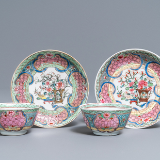 A pair of Chinese famille rose cups and saucers, Yongzheng