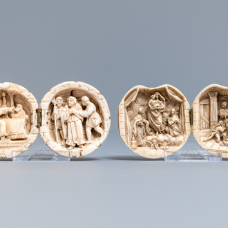 Two ivory diptych ball carvings, Dieppe, France, 18/19th C.