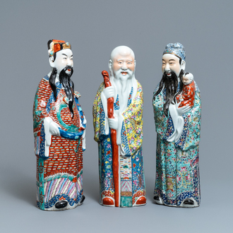 Three Chinese famille rose figures of the three star gods, 19/20th C.