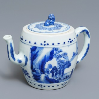 A Chinese blue and white 'landscape' teapot and cover, Kangxi