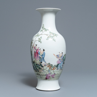 A Chinese famille rose 'playing boys' vase, Hongxian mark, Republic