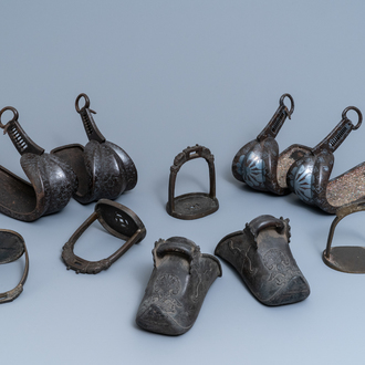 Five pairs of Chinese and Japanese stirrups, 18/19th C.