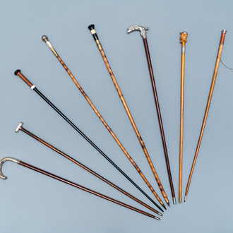 Eight canes incl. swords, daggers, dice and silver handles, 19th C.