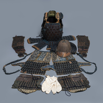 A number of pieces from a Japanese samurai suit of armour, Edo, 18th C.