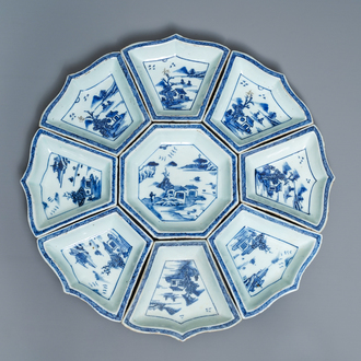 A Chinese blue and white sweetmeat or rice table set with landscape design, 18/19th C.