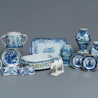 A varied collection of blue and white Dutch Delft and other pottery, 18th C. and later