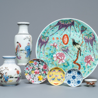 A varied collection of Chinese porcelain, Qing and Republic, 19/20th C.
