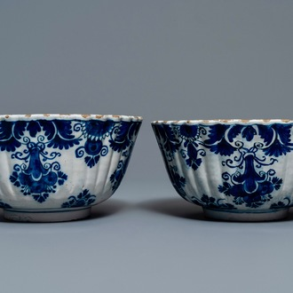 A pair of Dutch Delft blue and white ribbed bowls, 18th C.