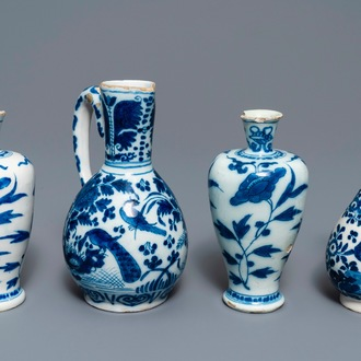 Three Dutch Delft blue and white vases and a chinoiserie jug, 17/18th C.