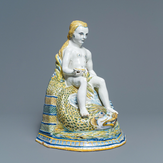 A large polychrome Brussels faience 'Amphitrite' fountain, 18th C.