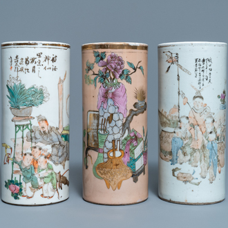 B:Three Chinese qianjiang cai hat stands, 19/20th C.