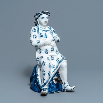 A pewter-mounted blue and white Brussels faience 'Jacqueline' jug, 18th C.