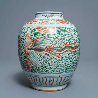 A Chinese wucai 'phoenixes' vase, Transitional period