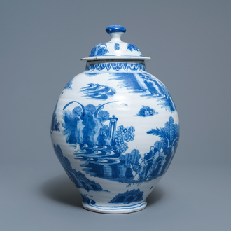A Dutch Delft blue and white chinoiserie vase and cover, 2nd half 17th C.