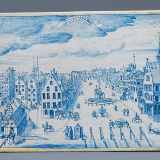 A rectangular Dutch Delft blue and white 'View on Nuremberg' plaque, 18th C.
