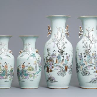 Two pairs of Chinese famille rose vases with ladies in a garden, 19/20th C.