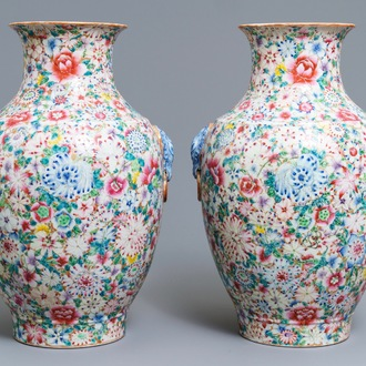 A pair of Chinese famille rose 'millefleurs' vases, Qianlong mark, Republic