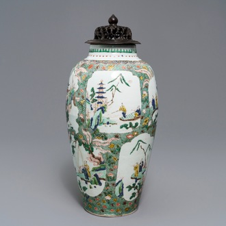 A Chinese famille verte vase with landscape medallions, Kangxi