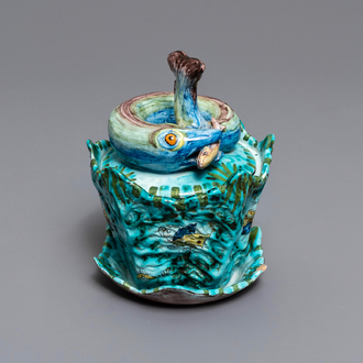 A Brussels faience eel tureen on stand with butterflies and caterpillars, late 18th C.