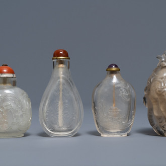 Four Chinese smoky quartz and rock crystal snuff bottles, 18/19th C.