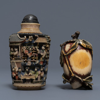 Two Chinese polychrome ivory snuff bottles, 19th C.