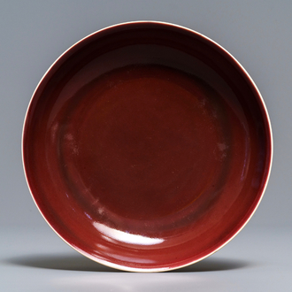 A Chinese monochrome red plate, Jiaqing mark and of the period