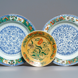 A pair of Chinese famille verte dishes and a café-au-lait-ground plate, Kangxi